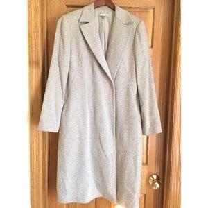 Ann Klein Wool Silk Blend Long Blazer Coat Size 10